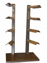 """Saddle Stackers Western Eight End Cap Style   Holders Available in Dark or Light Oak finish.   Base is 24""""x32"""".    6' tall."""
