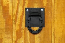 Decorate the barn with Style  Strong and durable. 3 inch square mounting plate with hinged pony shoe. Black powder coat finish. 3 x 3.